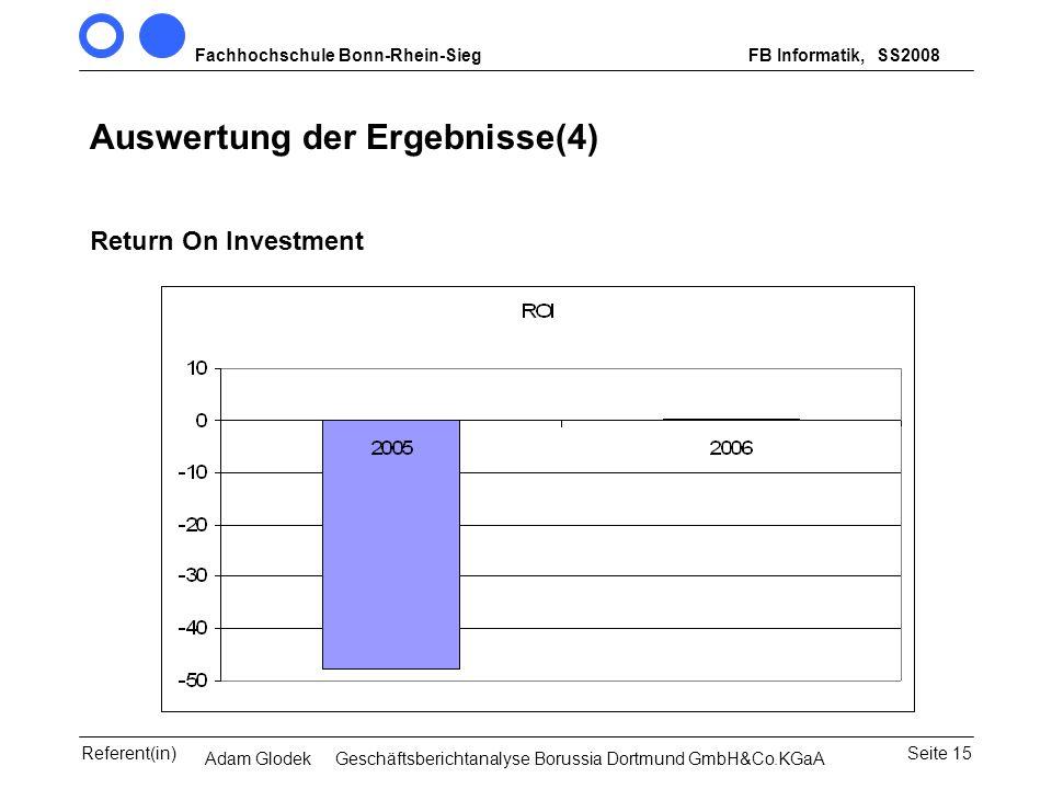 Fachhochschule Bonn-Rhein-SiegFB Informatik, WS 2007/08 Seite 15Referent(in)Seminar Wirtschaftsinformatik, 3. Sem. MCS Auswertung der Ergebnisse(4) Re