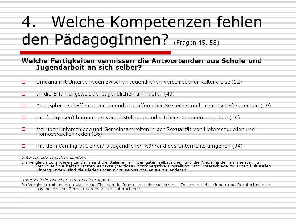 4.Welche Kompetenzen fehlen den PädagogInnen? (Fragen 45, 58) Welche Fertigkeiten vermissen die Antwortenden aus Schule und Jugendarbeit an sich selbe