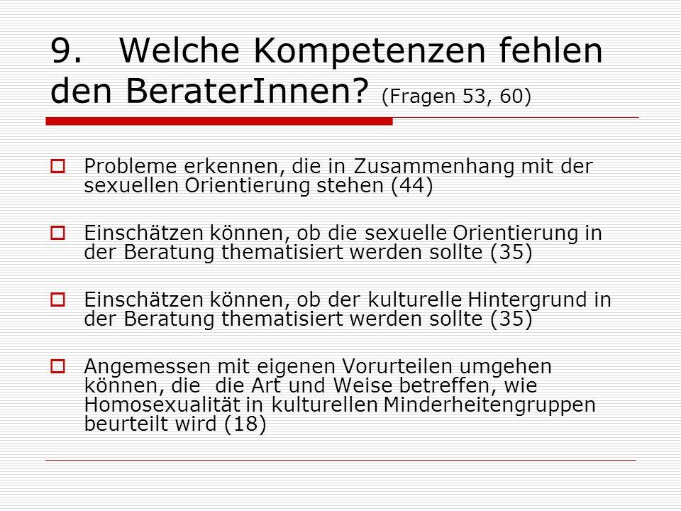 9.Welche Kompetenzen fehlen den BeraterInnen? (Fragen 53, 60) Probleme erkennen, die in Zusammenhang mit der sexuellen Orientierung stehen (44) Einsch