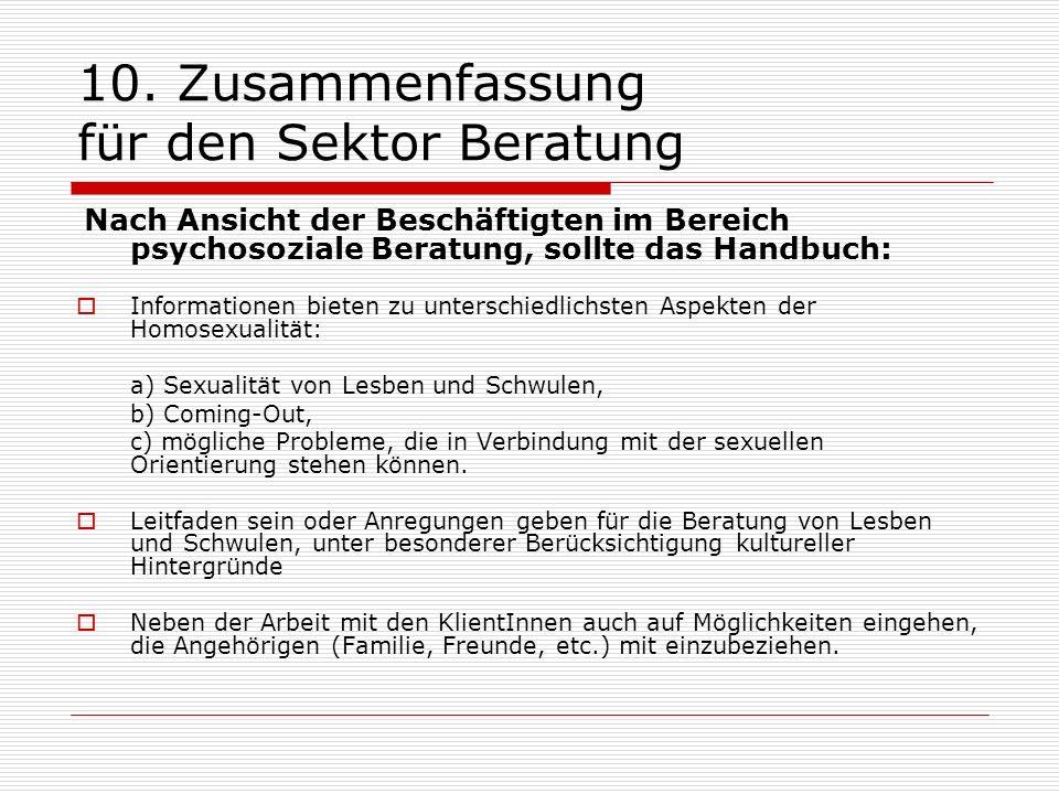 10. Zusammenfassung für den Sektor Beratung Nach Ansicht der Beschäftigten im Bereich psychosoziale Beratung, sollte das Handbuch: Informationen biete