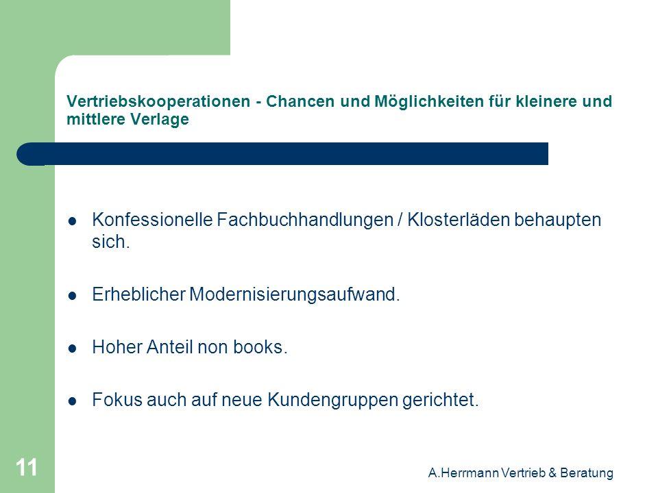 A.Herrmann Vertrieb & Beratung 11 Vertriebskooperationen - Chancen und Möglichkeiten für kleinere und mittlere Verlage Konfessionelle Fachbuchhandlung