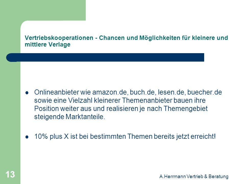 A.Herrmann Vertrieb & Beratung 13 Vertriebskooperationen - Chancen und Möglichkeiten für kleinere und mittlere Verlage Onlineanbieter wie amazon.de, b