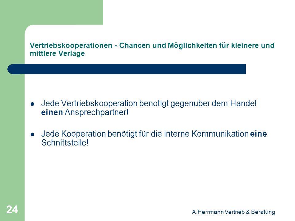 A.Herrmann Vertrieb & Beratung 24 Vertriebskooperationen - Chancen und Möglichkeiten für kleinere und mittlere Verlage Jede Vertriebskooperation benöt
