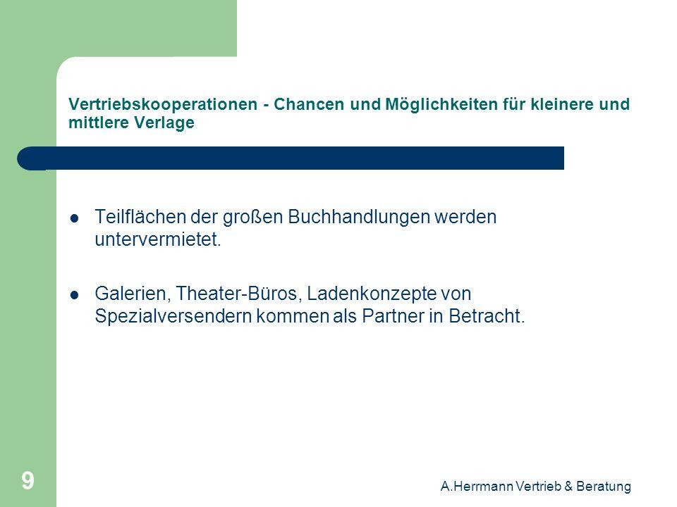 A.Herrmann Vertrieb & Beratung 20 Vertriebskooperationen - Chancen und Möglichkeiten für kleinere und mittlere Verlage Die Buchhändler / Handelspartner begrenzen die Anzahl der Lieferanten, mit denen sie aktiv zusammenarbeiten, auf die Pflichtanbieter in den einzelnen Warengruppen und Themenbereichen.