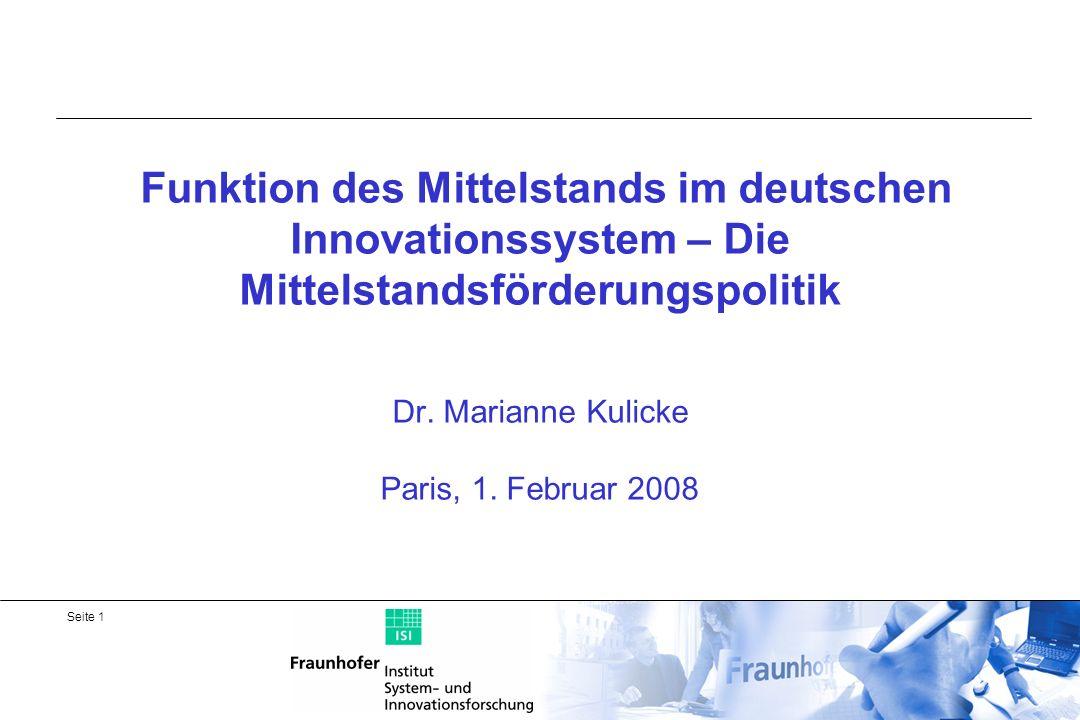 Seite 2 Überblick 1.Quantitäten - Rolle des Mittelstandes in Deutschland 2.Innovationstätigkeit in KMU des verarbeitenden Gewerbes und der wissensintensiven Dienstleistungsbranchen 3.Verankerung der Mittelstandsförderpolitik für innovative KMU 4.Förderung des innovativen Mittelstandes und Gründungen in der Hightech-Strategie 5.Zielbereiche der Förderung und Förderinstrumente 6.2 Beispiele von Innovationsprogrammen für KMU 7.Zusammenfassung und Bewertung der Mittelstandsförderungspolitik