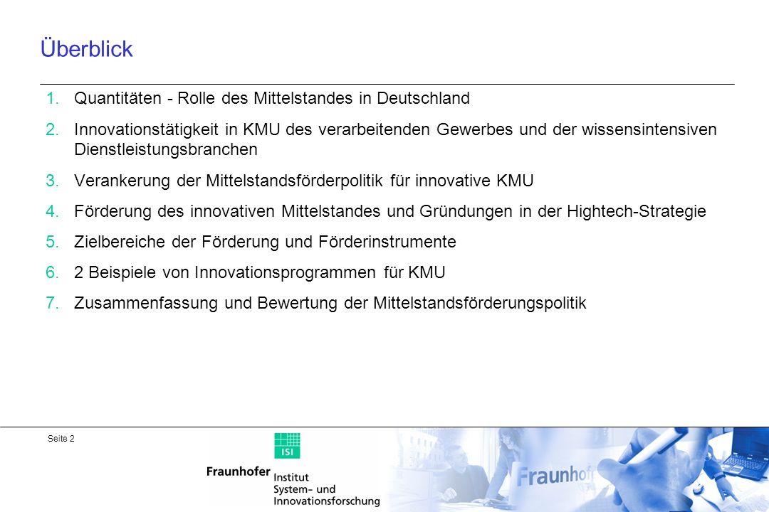 Seite 3 Rolle des Mittelstandes im deutschen Wirtschaftssystem Ökonomische Bedeutung des Mittelstands generell: 3,2 Mio.
