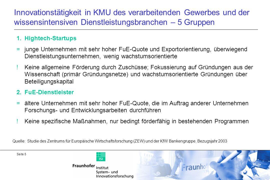 Seite 6 Innovationstätigkeit in KMU des verarbeitenden Gewerbes und der wissensintensiven Dienstleistungsbranchen 3.Regelmäßig forschende KMU = Kern der technologieorientierten KMU, tragen mit über drei Mrd.