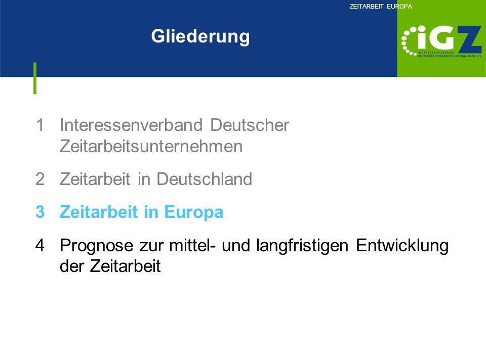 1Interessenverband Deutscher Zeitarbeitsunternehmen 2Zeitarbeit in Deutschland 3Zeitarbeit in Europa 4Prognose zur mittel- und langfristigen Entwicklu