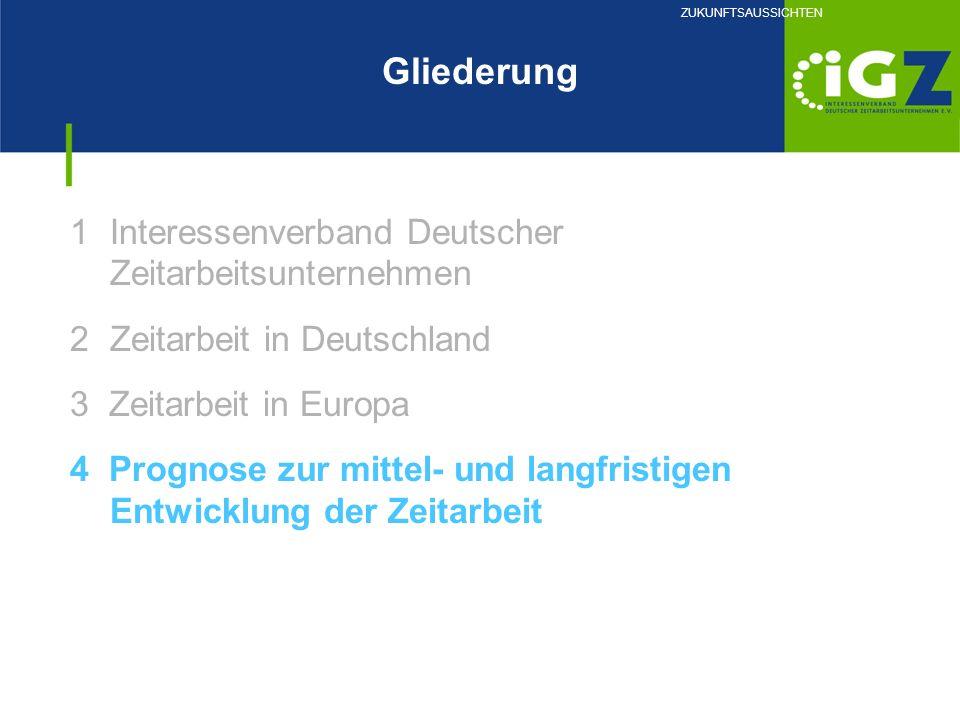 1Interessenverband Deutscher Zeitarbeitsunternehmen 2Zeitarbeit in Deutschland 3 Zeitarbeit in Europa 4 Prognose zur mittel- und langfristigen Entwick