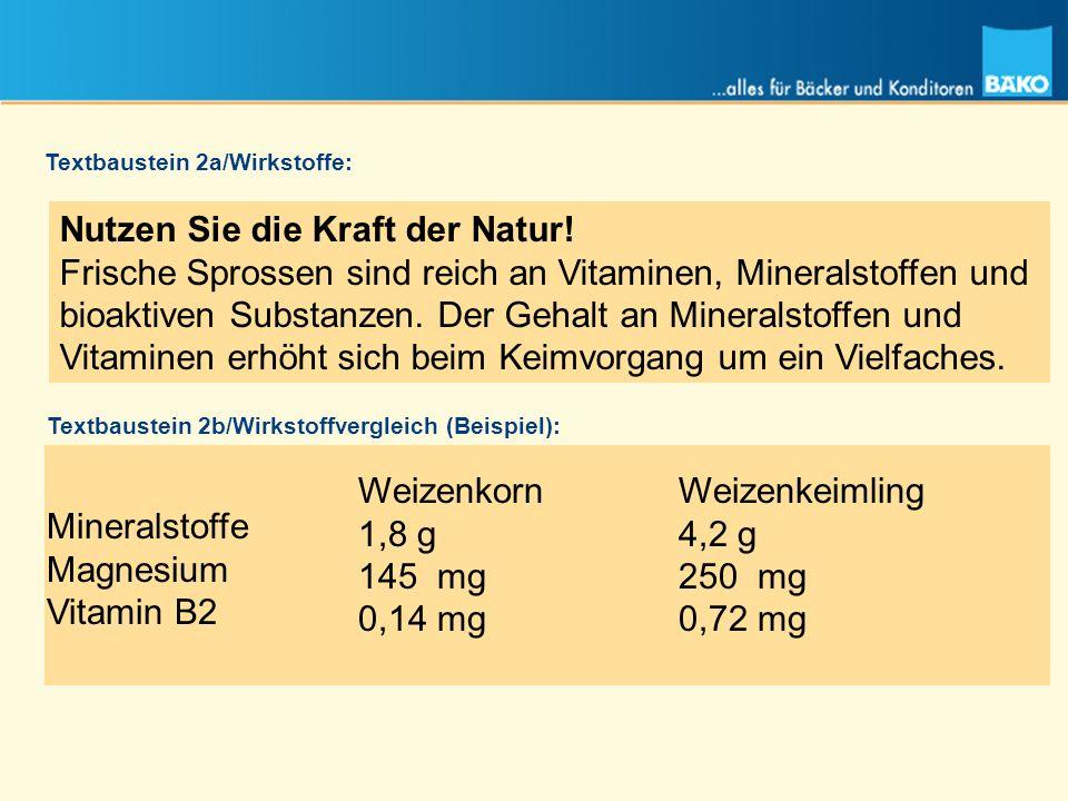Nutzen Sie die Kraft der Natur! Frische Sprossen sind reich an Vitaminen, Mineralstoffen und bioaktiven Substanzen. Der Gehalt an Mineralstoffen und V