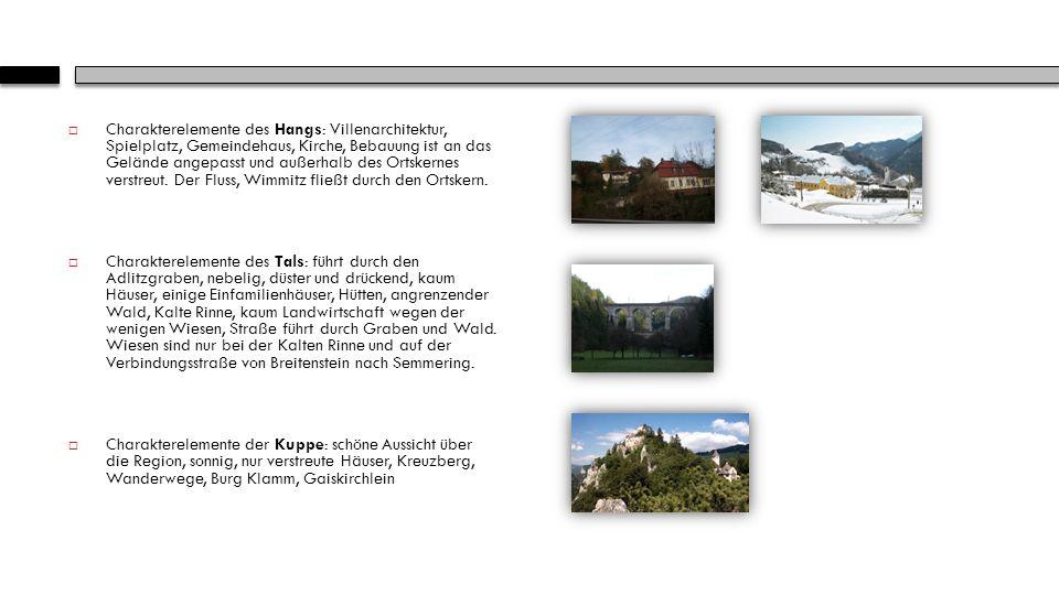 Charakterelemente des Hangs: Villenarchitektur, Spielplatz, Gemeindehaus, Kirche, Bebauung ist an das Gelände angepasst und außerhalb des Ortskernes verstreut.