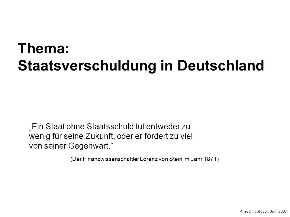 Thema: Staatsverschuldung in Deutschland Ein Staat ohne Staatsschuld tut entweder zu wenig für seine Zukunft, oder er fordert zu viel von seiner Gegen