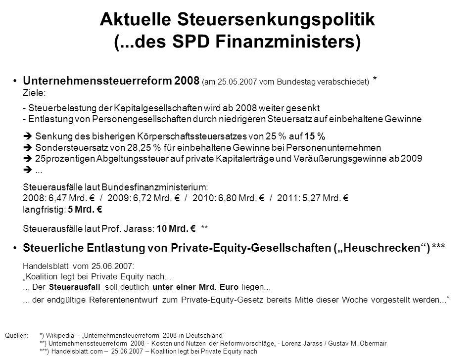 Aktuelle Steuersenkungspolitik (...des SPD Finanzministers) Unternehmenssteuerreform 2008 (am 25.05.2007 vom Bundestag verabschiedet) * Ziele: - Steue