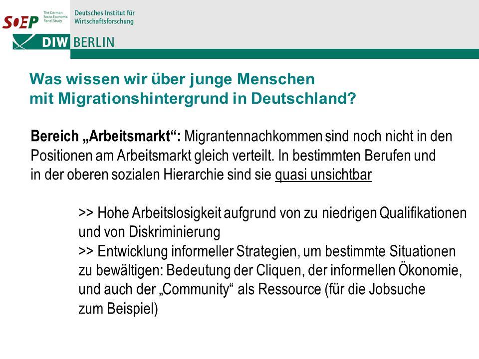 Bereich Arbeitsmarkt: Migrantennachkommen sind noch nicht in den Positionen am Arbeitsmarkt gleich verteilt.