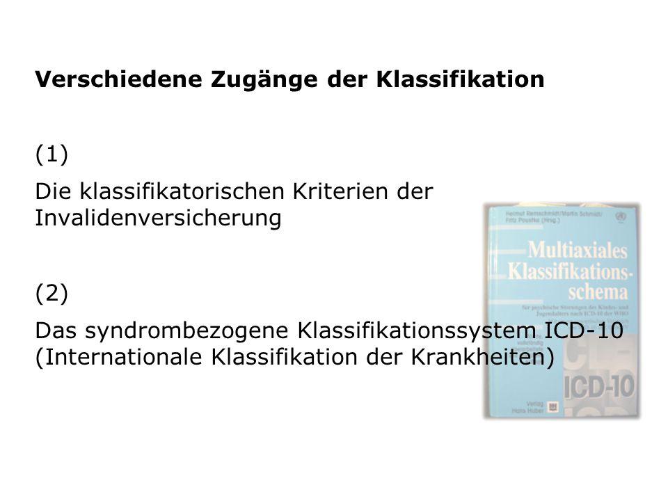 Verschiedene Zugänge der Klassifikation (1) Die klassifikatorischen Kriterien der Invalidenversicherung (2) Das syndrombezogene Klassifikationssystem