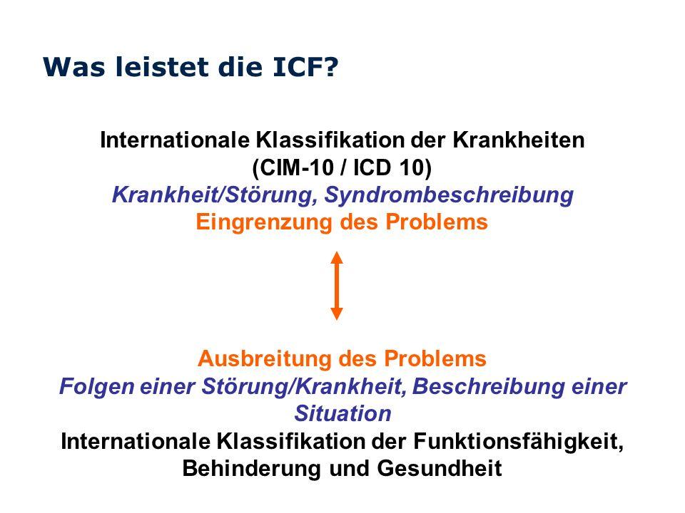 Was leistet die ICF? Internationale Klassifikation der Krankheiten (CIM-10 / ICD 10) Krankheit/Störung, Syndrombeschreibung Eingrenzung des Problems A