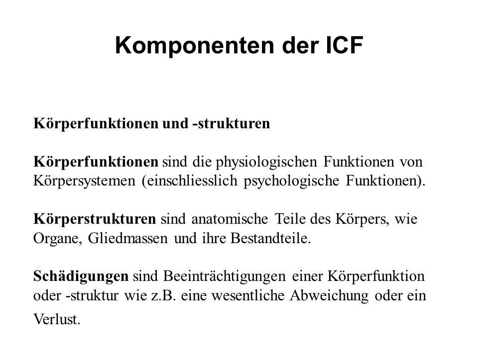 Komponenten der ICF Körperfunktionen und -strukturen Körperfunktionen sind die physiologischen Funktionen von Körpersystemen (einschliesslich psycholo