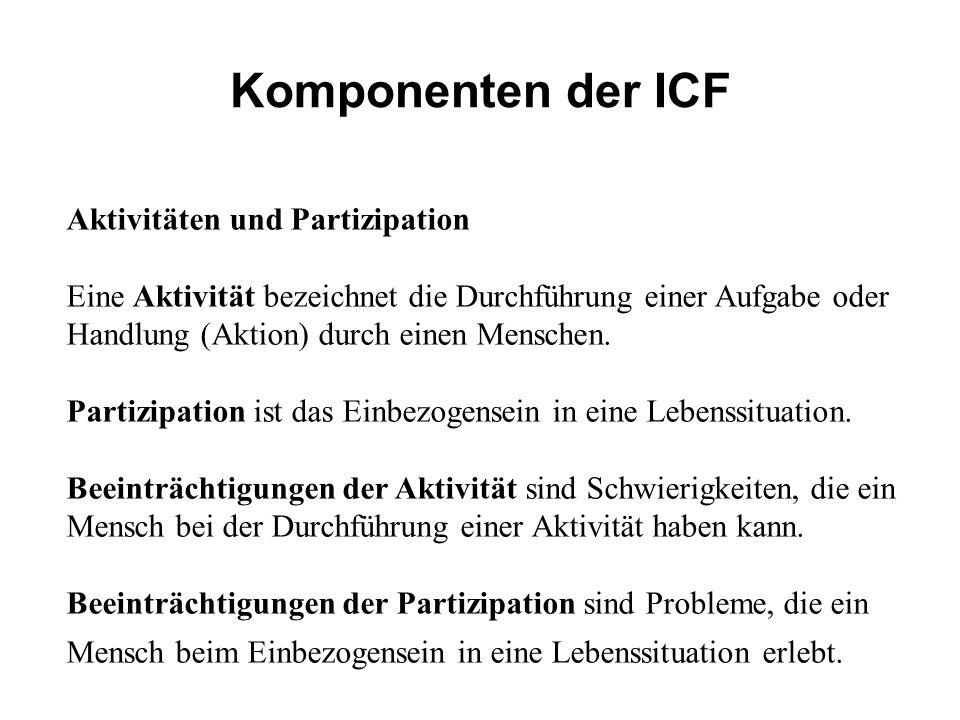 Komponenten der ICF Aktivitäten und Partizipation Eine Aktivität bezeichnet die Durchführung einer Aufgabe oder Handlung (Aktion) durch einen Menschen