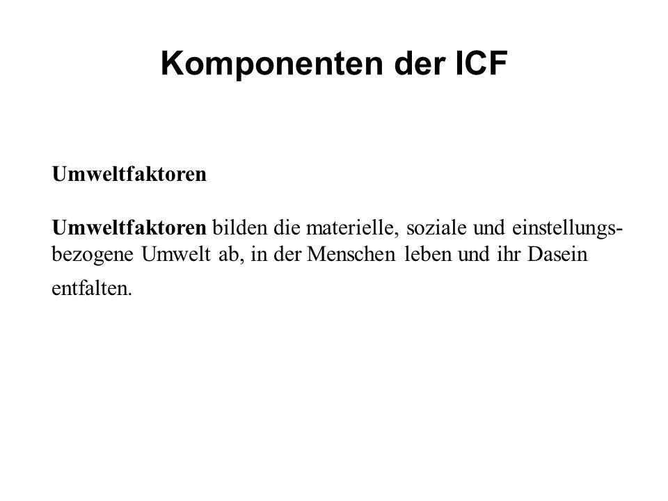 Komponenten der ICF Umweltfaktoren Umweltfaktoren bilden die materielle, soziale und einstellungs- bezogene Umwelt ab, in der Menschen leben und ihr D