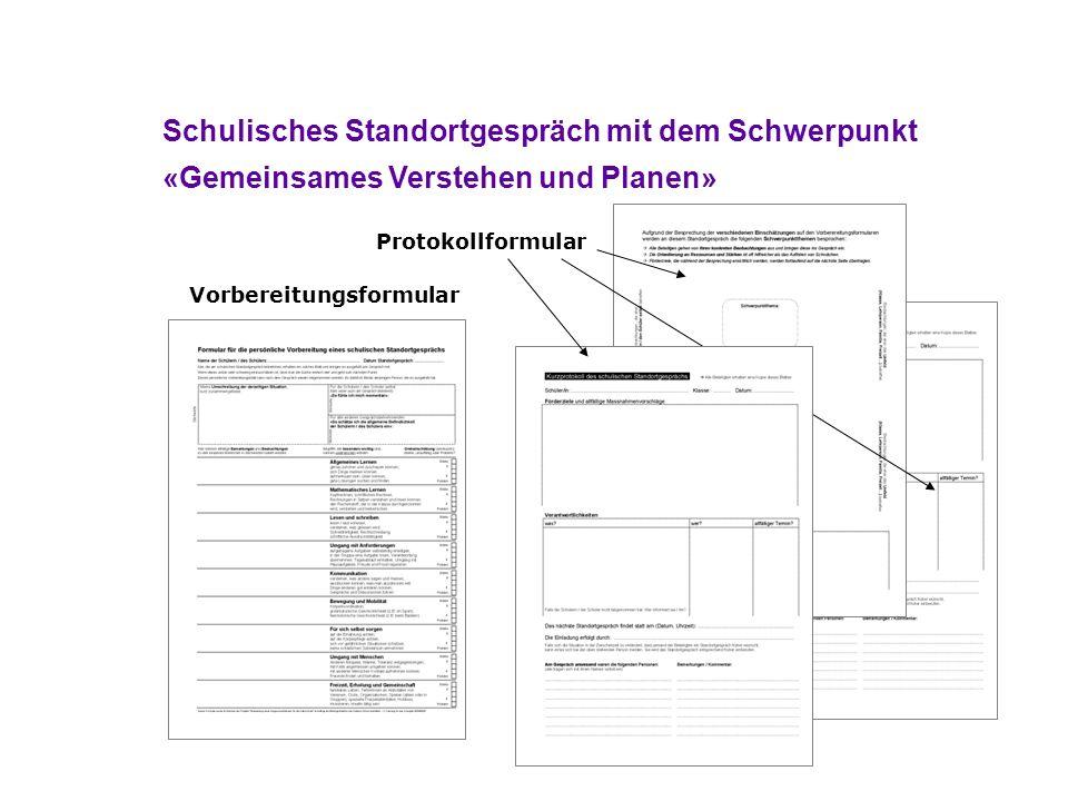 Schulisches Standortgespräch mit dem Schwerpunkt «Gemeinsames Verstehen und Planen» Vorbereitungsformular Protokollformular