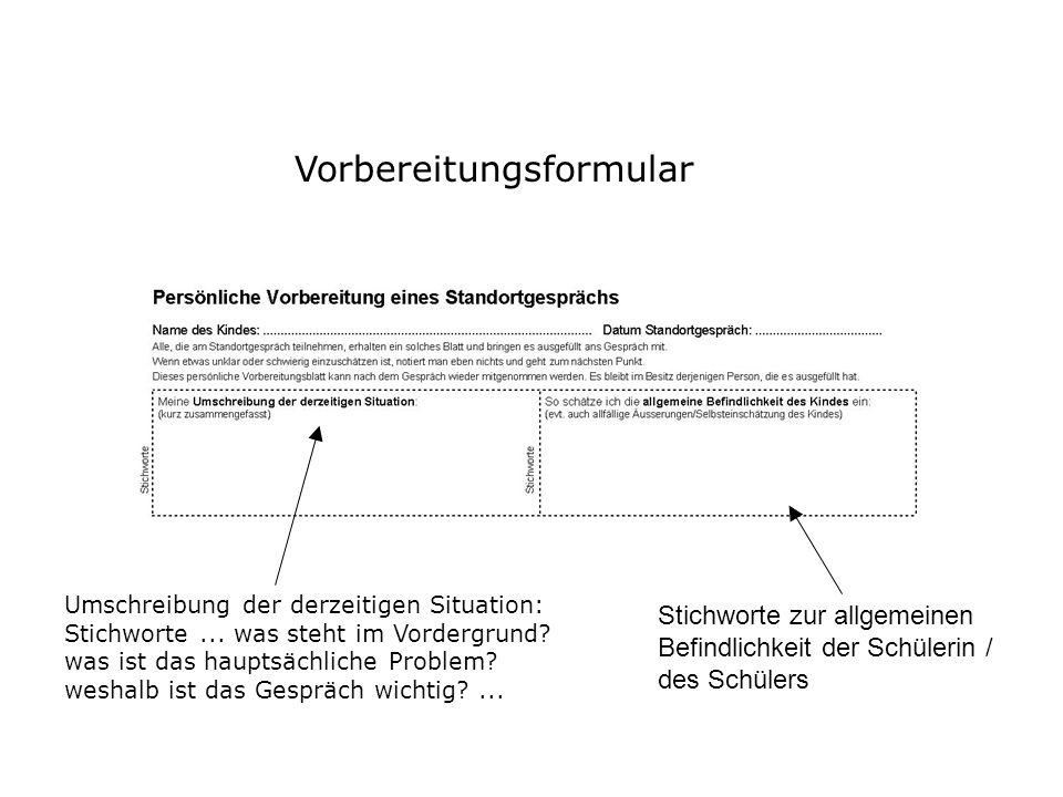 Vorbereitungsformular Umschreibung der derzeitigen Situation: Stichworte... was steht im Vordergrund? was ist das hauptsächliche Problem? weshalb ist