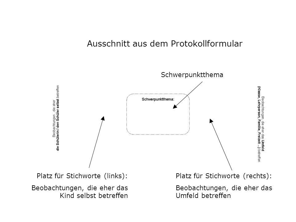 Ausschnitt aus dem Protokollformular Schwerpunktthema Platz für Stichworte (links): Beobachtungen, die eher das Kind selbst betreffen Platz für Stichw