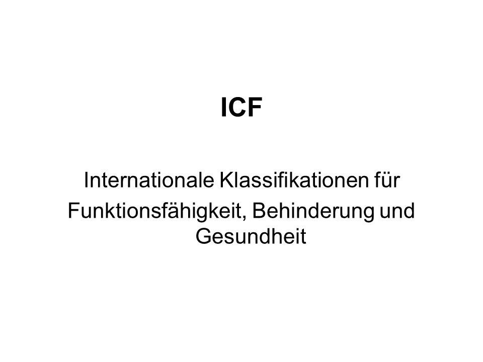 Gesundheitszustand Körperfunktionen und -strukturen AktivitätenPartizipation Umweltfaktoren personenbezogene Faktoren Modell der Funktionsfähigkeit und Behinderung (ICF; WHO 2001)