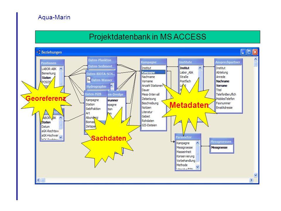 Aqua-Marin Projektdatenbank in MS ACCESS Sachdaten Georeferenz Metadaten