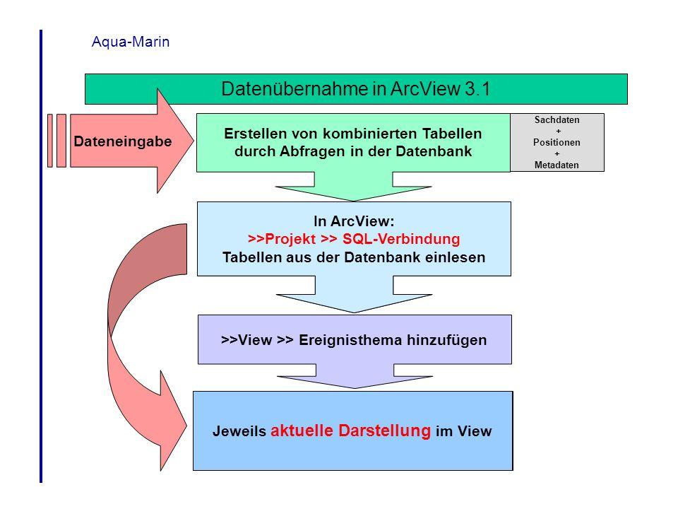 Aqua-Marin Datenübernahme in ArcView 3.1 In ArcView: >>Projekt >> SQL-Verbindung Tabellen aus der Datenbank einlesen >>View >> Ereignisthema hinzufüge