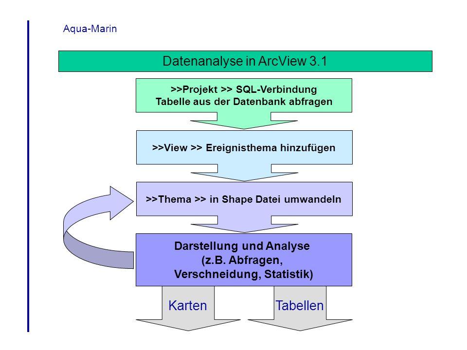 Aqua-Marin Datenanalyse in ArcView 3.1 >>Projekt >> SQL-Verbindung Tabelle aus der Datenbank abfragen >>View >> Ereignisthema hinzufügen >>Thema >> in
