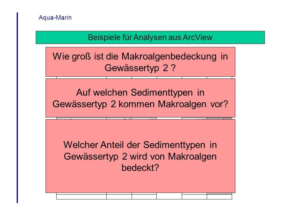 Aqua-Marin Beispiele für Analysen aus ArcView Wie groß ist die Makroalgenbedeckung in Gewässertyp 2 ? Auf welchen Sedimenttypen in Gewässertyp 2 komme