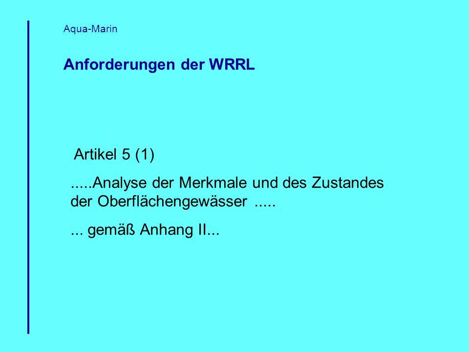 Anforderungen der WRRL Aqua-Marin Artikel 5 (1).....Analyse der Merkmale und des Zustandes der Oberflächengewässer........ gemäß Anhang II...