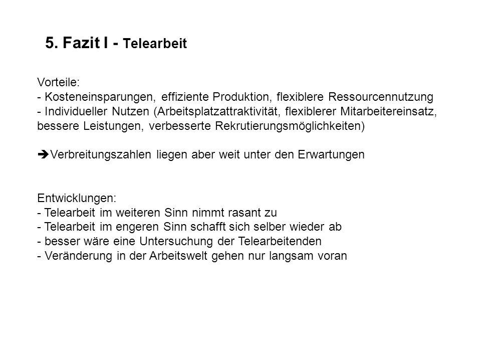 5. Fazit I - Telearbeit Vorteile: - Kosteneinsparungen, effiziente Produktion, flexiblere Ressourcennutzung - Individueller Nutzen (Arbeitsplatzattrak