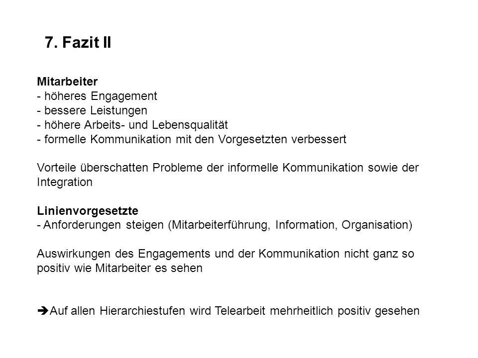 7. Fazit II Mitarbeiter - höheres Engagement - bessere Leistungen - höhere Arbeits- und Lebensqualität - formelle Kommunikation mit den Vorgesetzten v
