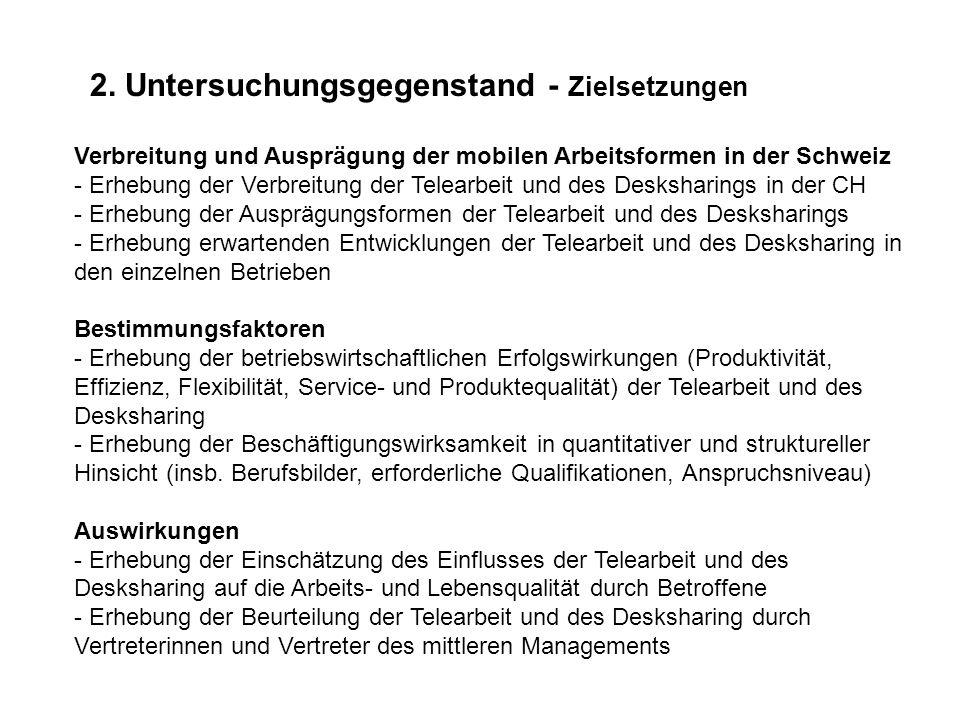 2. Untersuchungsgegenstand - Zielsetzungen Verbreitung und Ausprägung der mobilen Arbeitsformen in der Schweiz - Erhebung der Verbreitung der Telearbe