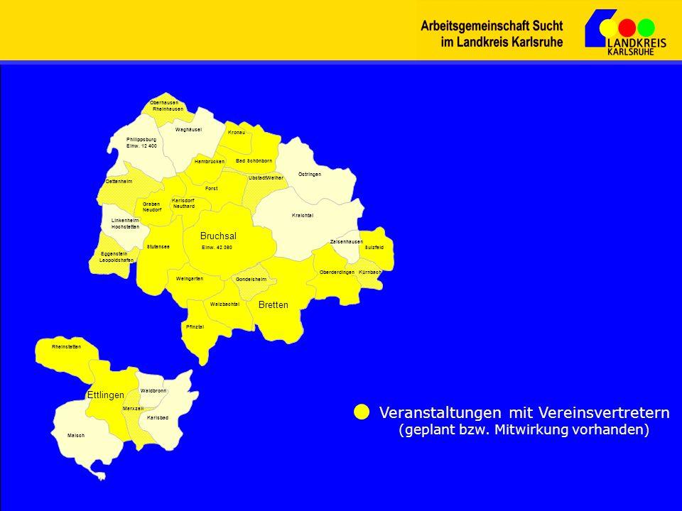 Waghäusel Philippsburg Einw. 12 400 Dettenheim Stutensee Bruchsal Einw. 42 360 Eggenstein Leopoldshafen Graben Neudorf Weingarten Kraichtal UbstadtWei