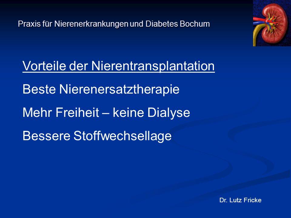 Praxis für Nierenerkrankungen und Diabetes Bochum Dr. Lutz Fricke Vorteile der Nierentransplantation Beste Nierenersatztherapie Mehr Freiheit – keine