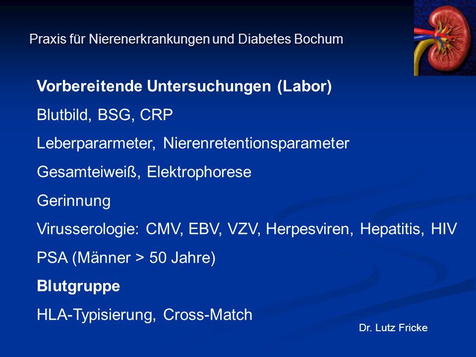 Praxis für Nierenerkrankungen und Diabetes Bochum Dr. Lutz Fricke Vorbereitende Untersuchungen (Labor) Blutbild, BSG, CRP Leberpararmeter, Nierenreten