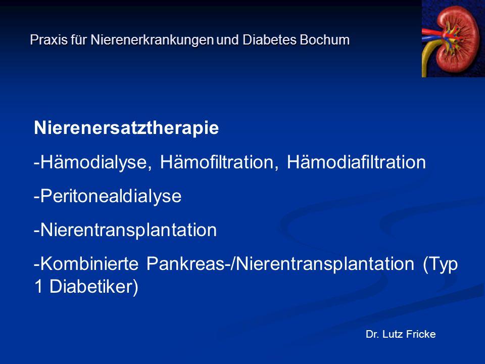Praxis für Nierenerkrankungen und Diabetes Bochum Dr. Lutz Fricke Nierenersatztherapie -Hämodialyse, Hämofiltration, Hämodiafiltration -Peritonealdial