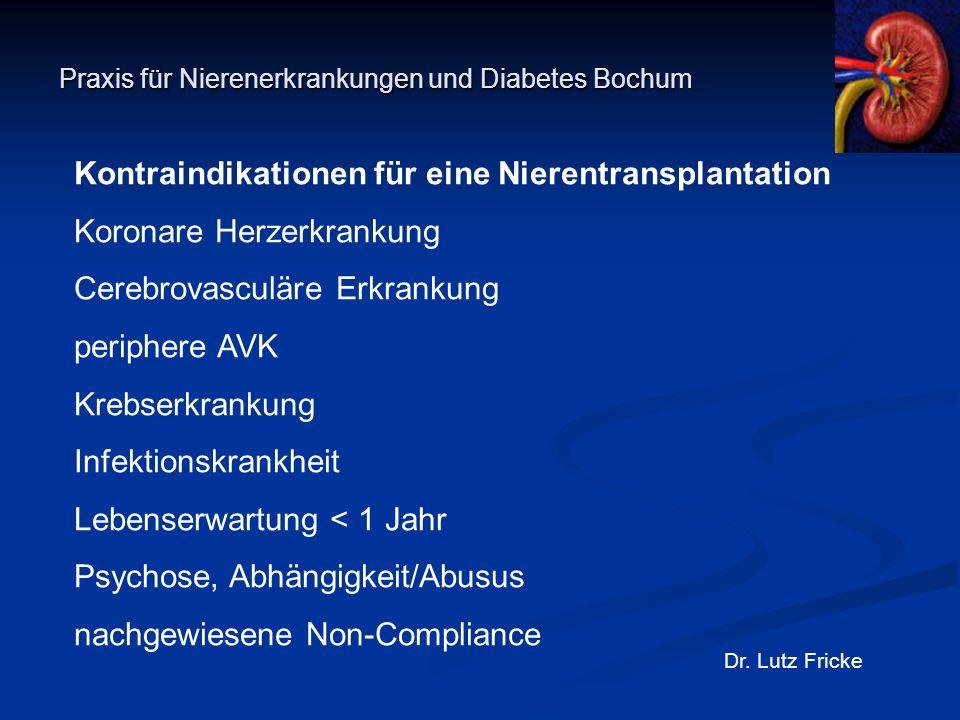 Praxis für Nierenerkrankungen und Diabetes Bochum Dr. Lutz Fricke Kontraindikationen für eine Nierentransplantation Koronare Herzerkrankung Cerebrovas