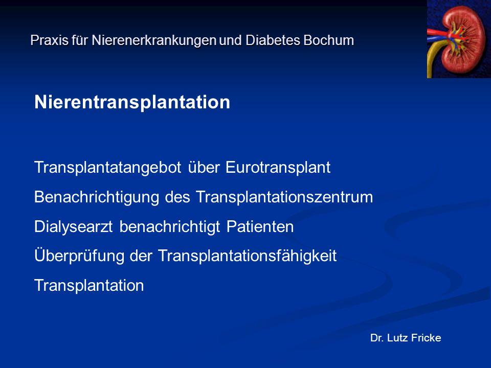 Praxis für Nierenerkrankungen und Diabetes Bochum Dr. Lutz Fricke Nierentransplantation Transplantatangebot über Eurotransplant Benachrichtigung des T