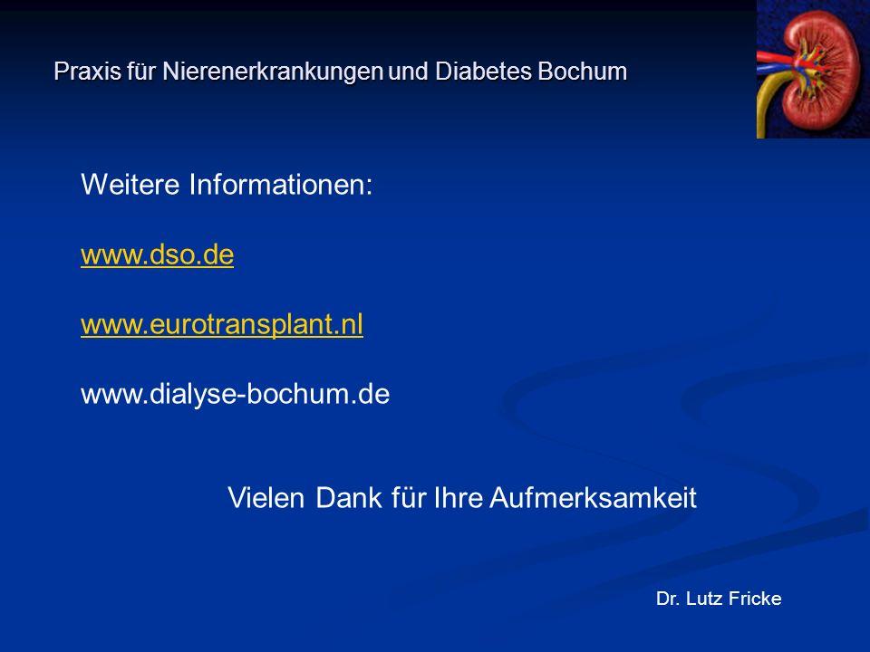 Praxis für Nierenerkrankungen und Diabetes Bochum Dr. Lutz Fricke Weitere Informationen: www.dso.de www.eurotransplant.nl www.dialyse-bochum.de Vielen
