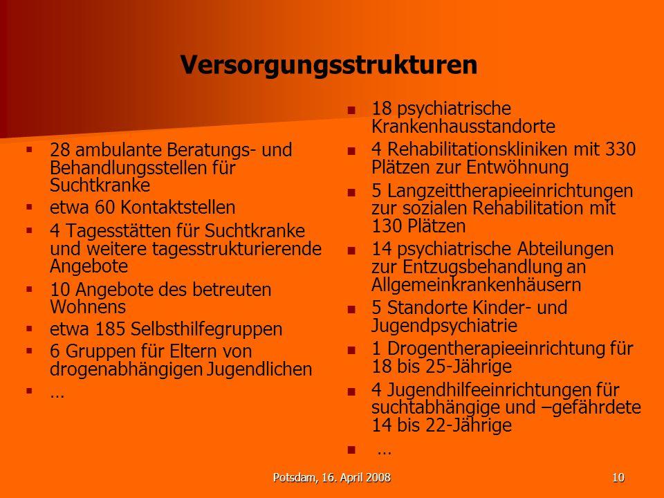 Potsdam, 16. April 200810 Versorgungsstrukturen 28 ambulante Beratungs- und Behandlungsstellen für Suchtkranke etwa 60 Kontaktstellen 4 Tagesstätten f