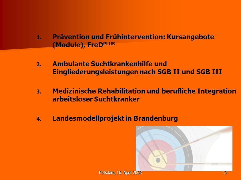 Potsdam, 16. April 200813 1. 1. Prävention und Frühintervention: Kursangebote (Module), FreD PLUS 2. 2. Ambulante Suchtkrankenhilfe und Eingliederungs