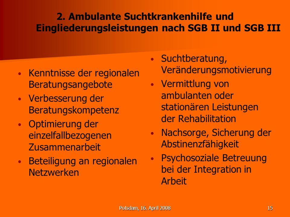 Potsdam, 16. April 200815 2. Ambulante Suchtkrankenhilfe und Eingliederungsleistungen nach SGB II und SGB III Kenntnisse der regionalen Beratungsangeb