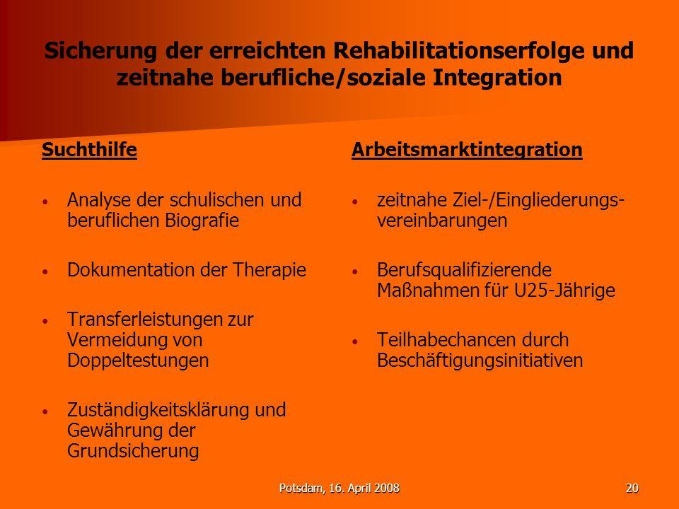 Potsdam, 16. April 200820 Sicherung der erreichten Rehabilitationserfolge und zeitnahe berufliche/soziale Integration Suchthilfe Analyse der schulisch
