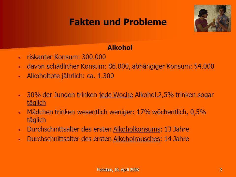 Potsdam, 16. April 20083 Fakten und Probleme Alkohol riskanter Konsum: 300.000 davon schädlicher Konsum: 86.000, abhängiger Konsum: 54.000 Alkoholtote