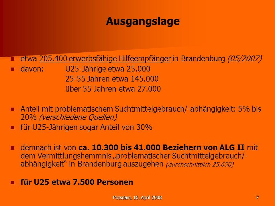 Potsdam, 16. April 20087 Ausgangslage etwa 205.400 erwerbsfähige Hilfeempfänger in Brandenburg (05/2007) davon:U25-Jährige etwa 25.000 25-55 Jahren et
