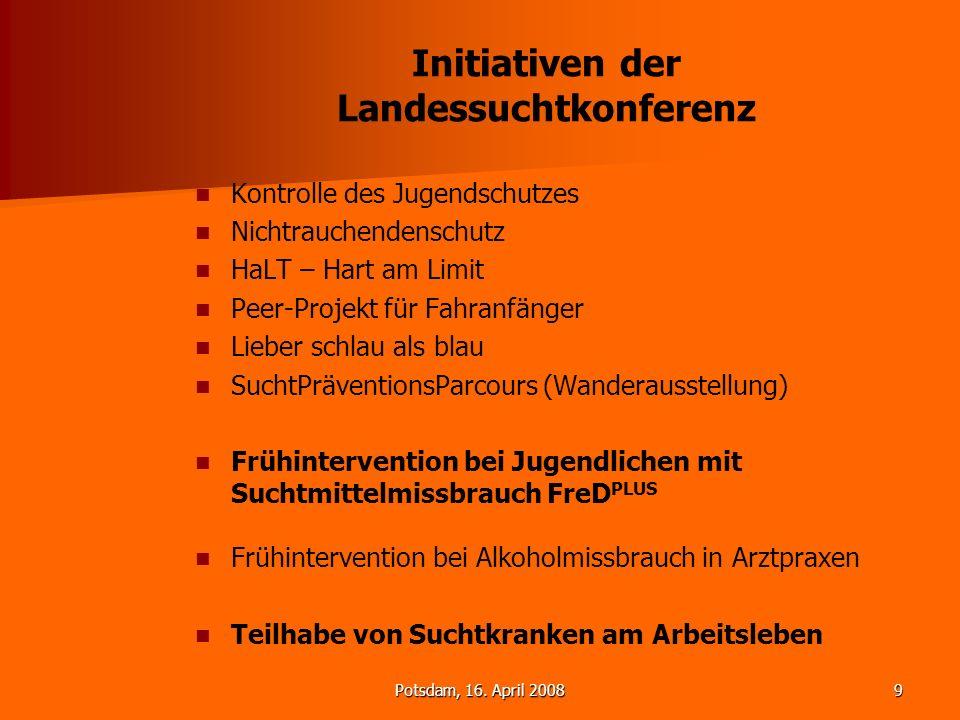 Potsdam, 16. April 20089 Initiativen der Landessuchtkonferenz Kontrolle des Jugendschutzes Nichtrauchendenschutz HaLT – Hart am Limit Peer-Projekt für