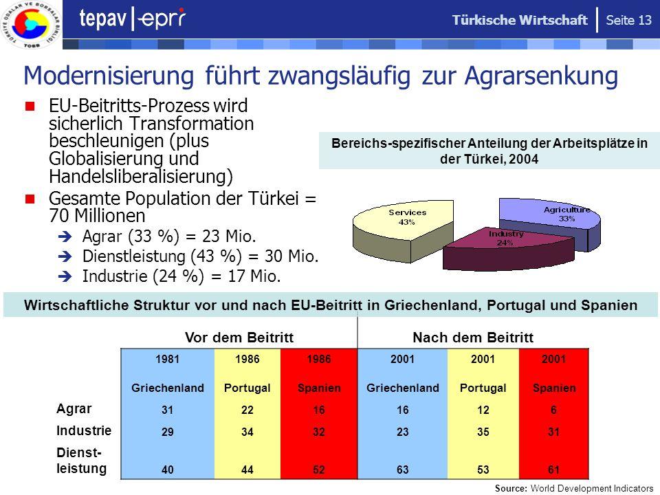 Türkische Wirtschaft Seite 13 Modernisierung führt zwangsläufig zur Agrarsenkung EU-Beitritts-Prozess wird sicherlich Transformation beschleunigen (pl